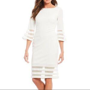 Calvin Klein White Illusion Sleeve Sheath Dress